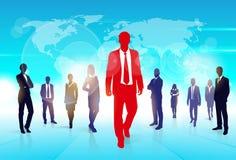 Hombre de negocios rojo Silhouette, hombres de negocios negros Fotos de archivo