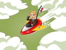Hombre de negocios rubio en el traje marrón que monta un cohete con la bandera del número uno libre illustration