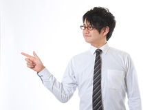Hombre de negocios a señalar en Imagen de archivo