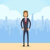 Hombre de negocios Serious Full Length, ciudad del hombre de negocios Imagen de archivo libre de regalías