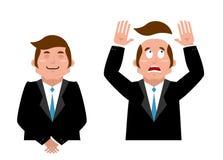 Hombre de negocios Set Hombre alegre en traje Hombre y peluca Encargado asustado Fotografía de archivo