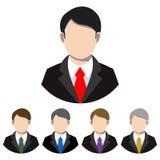 Hombre de negocios simple, plano en un traje y avatar del lazo Cinco variaciones stock de ilustración