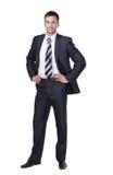 Hombre de negocios sonriente aislado en blanco Foto de archivo libre de regalías