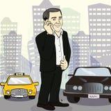 Hombre de negocios sonriente aislado en una calle de la ciudad Imagen de archivo libre de regalías