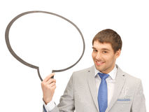 Hombre de negocios sonriente con la burbuja en blanco del texto Imágenes de archivo libres de regalías