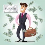 Hombre de negocios sonriente con un bolso del dinero Imágenes de archivo libres de regalías