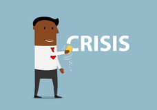 Hombre de negocios sonriente de la historieta que borra crisis Imagen de archivo libre de regalías