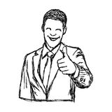 Hombre de negocios sonriente dibujado mano del garabato del vector del ejemplo con t Fotos de archivo