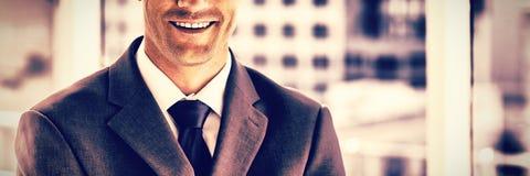 Hombre de negocios sonriente en su oficina foto de archivo libre de regalías