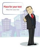 Hombre de negocios sonriente Personaje de dibujos animados modelo Imágenes de archivo libres de regalías