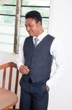 Hombre de negocios sorprendido y feliz Imagenes de archivo