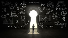 Hombre de negocios Standing delante del ojo de la cerradura, del plan empresarial y del diverso gráfico stock de ilustración