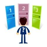 Hombre de negocios Standing In Front Of Three Different Door Fotografía de archivo