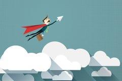 Hombre de negocios Superhero de la historieta con un cabo rojo en la nube, ejemplo del vector stock de ilustración