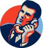 Hombre de negocios Talk Telephone Retro Foto de archivo libre de regalías