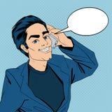 Hombre de negocios Talking en el teléfono elegante Arte pop Imagenes de archivo