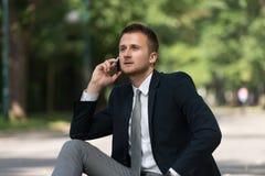 Hombre de negocios Talking On Telephone al aire libre en parque Imagenes de archivo