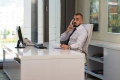 Hombre de negocios Talking On Telephone y ordenador con Fotografía de archivo
