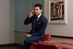 Hombre de negocios Talking On Telephone y ordenador con Imagenes de archivo