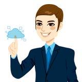 Hombre de negocios Touching Cloud Computing Fotografía de archivo libre de regalías