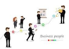 Hombre de negocios, trabajadores vector de la gente, carácter del diagrama de la historieta, icono infographic y muestra, éxito d stock de ilustración