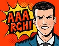 Hombre de negocios u hombre enojado en traje de negocios Estilo cómico retro del arte pop Ilustración del vector de la historieta Imágenes de archivo libres de regalías