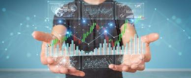 Hombre de negocios usando 3D que rinde datos y cartas de la bolsa de acción ilustración del vector