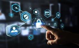 Hombre de negocios usando el antivirus para bloquear una representación cibernética del ataque 3D Fotografía de archivo libre de regalías