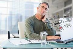 Hombre de negocios usando el ordenador portátil con garabatos de marcado en caliente del negocio colorido en oficina Imagen de archivo libre de regalías