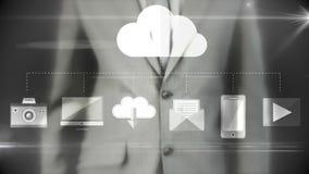 Hombre de negocios usando interfaz futurista digital ilustración del vector