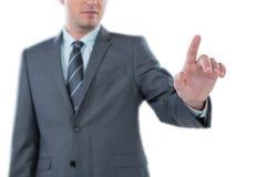 Hombre de negocios usando la pantalla digital futurista Fotografía de archivo libre de regalías