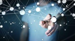 Hombre de negocios usando la representación de la conexión 3D de las bolas de la red del vuelo Imagen de archivo