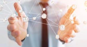 Hombre de negocios usando la representación de la conexión 3D de las bolas de la red del vuelo Imagen de archivo libre de regalías