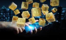 Hombre de negocios usando la representación del cryptocurrency 3D de los bitcoins Fotos de archivo