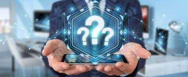 Hombre de negocios usando la representación del interfaz digital 3D de los signos de interrogación Foto de archivo libre de regalías