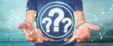 Hombre de negocios usando la representación del interfaz digital 3D de los signos de interrogación Foto de archivo