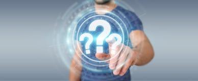 Hombre de negocios usando la representación del interfaz digital 3D de los signos de interrogación Imágenes de archivo libres de regalías
