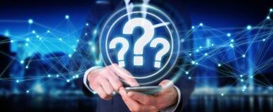 Hombre de negocios usando la representación del interfaz digital 3D de los signos de interrogación Imagen de archivo