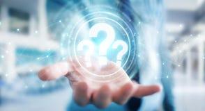 Hombre de negocios usando la representación del interfaz digital 3D de los signos de interrogación Imagen de archivo libre de regalías
