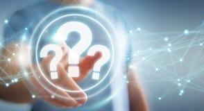Hombre de negocios usando la representación del interfaz digital 3D de los signos de interrogación Fotografía de archivo