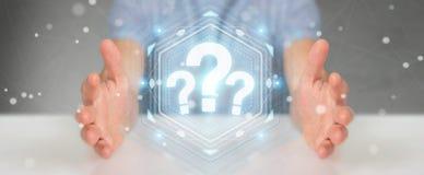 Hombre de negocios usando la representación del interfaz digital 3D de los signos de interrogación Imagenes de archivo