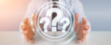 Hombre de negocios usando la representación del interfaz digital 3D de los signos de interrogación Fotos de archivo libres de regalías