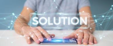 Hombre de negocios usando la representación digital del texto 3D de la solución Fotos de archivo libres de regalías