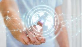 Hombre de negocios usando la representación de la esfera 3D de la red de la tierra del planeta Imagen de archivo libre de regalías