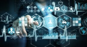 Hombre de negocios usando la representación médica digital del interfaz 3D Fotografía de archivo libre de regalías