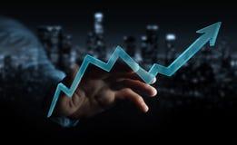 Hombre de negocios usando la representación moderna digital de la flecha 3D Stock de ilustración