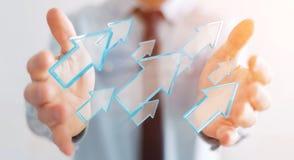 Hombre de negocios usando la representación moderna digital de la flecha 3D Fotos de archivo