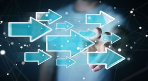 Hombre de negocios usando la representación moderna digital de la flecha 3D Libre Illustration