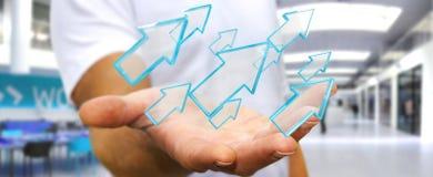 Hombre de negocios usando la representación moderna digital de la flecha 3D Foto de archivo libre de regalías