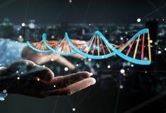 Hombre de negocios usando la representación moderna de la estructura 3D de la DNA Imagen de archivo libre de regalías